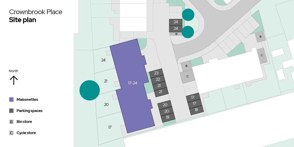 Crownbrook Place, plots 17 - 24 site plan
