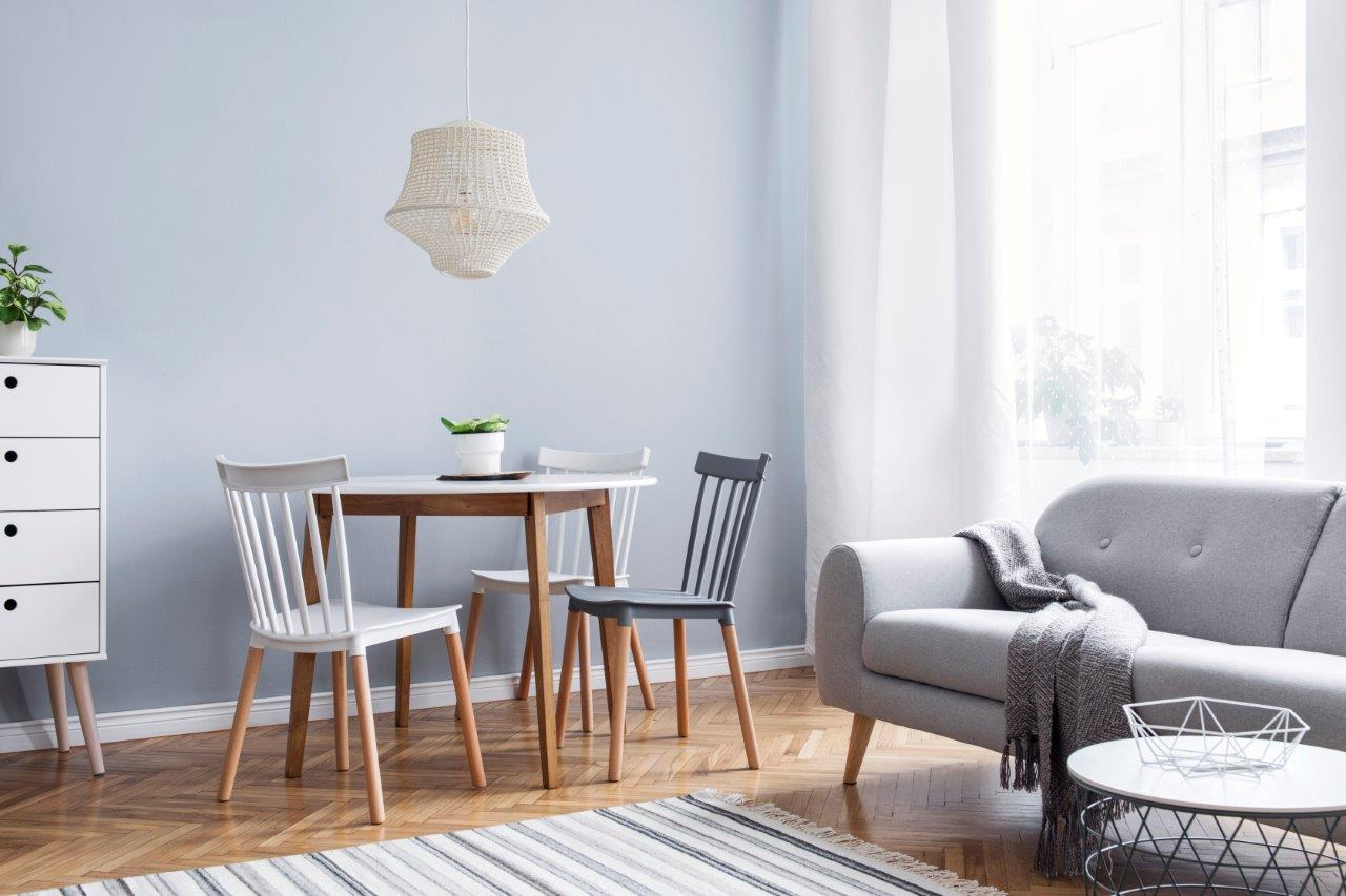 A photograph of a living / dining room set up