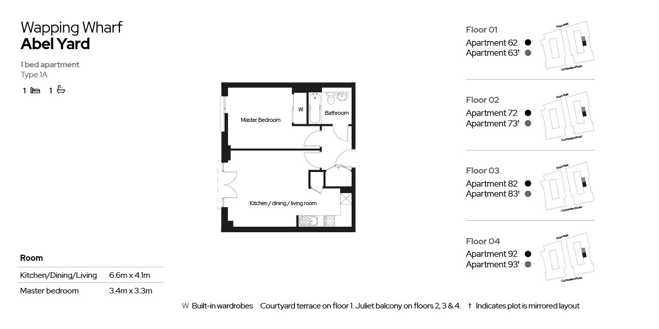 Wapping Wharf apartment type 01A
