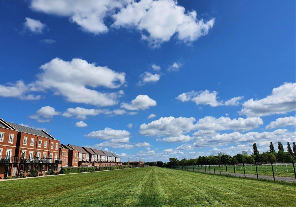 Exterior images of homes facing the racing straight at Newbury Racecourse