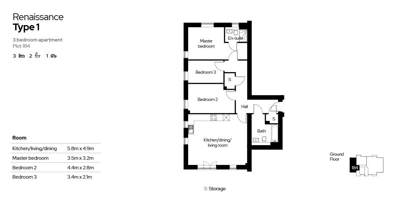 Renaissance, Block 4, 3 bed, plot 184
