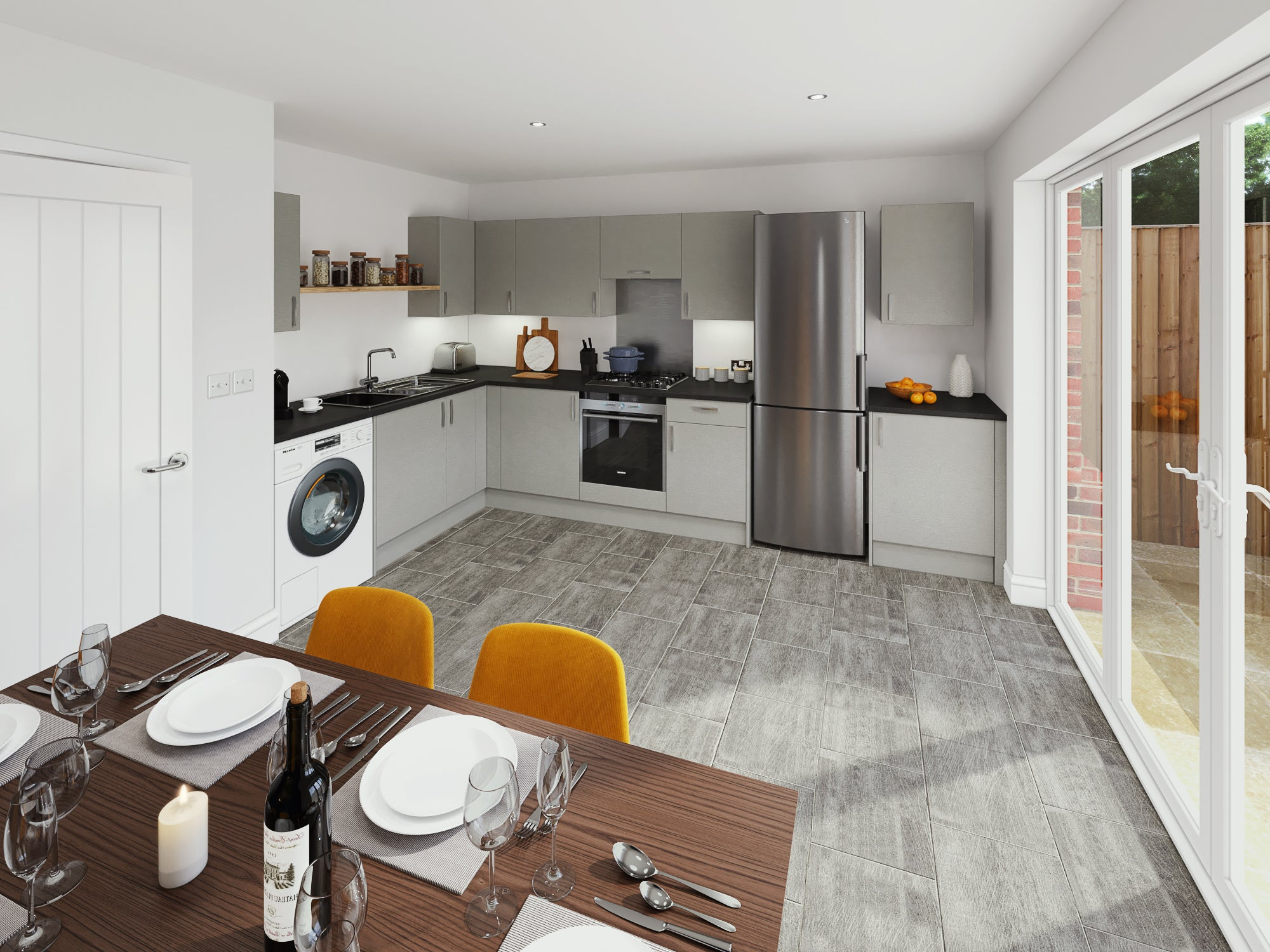 Calder Close interior CGI Kitchen