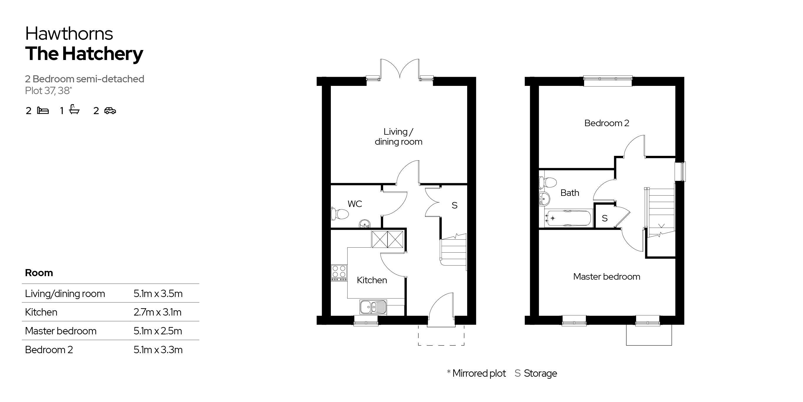 Hawthorns 2 bedroom home floor plan