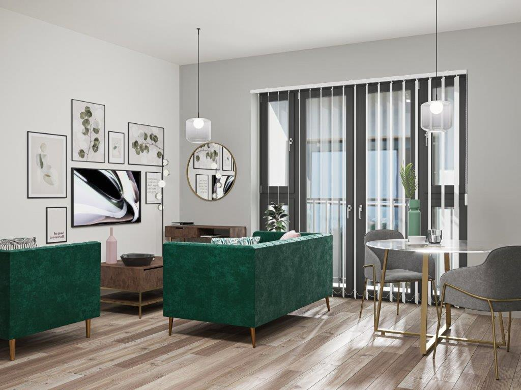 Wapping Wharf living/dining interior CGI