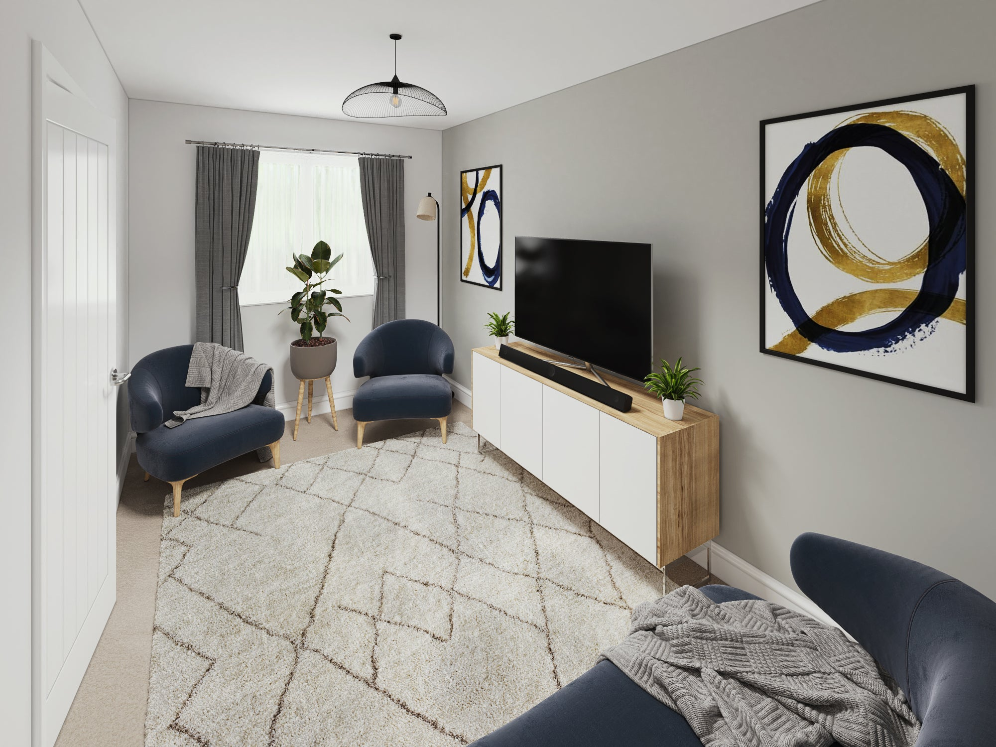 Calder Close interior CGI Lounge