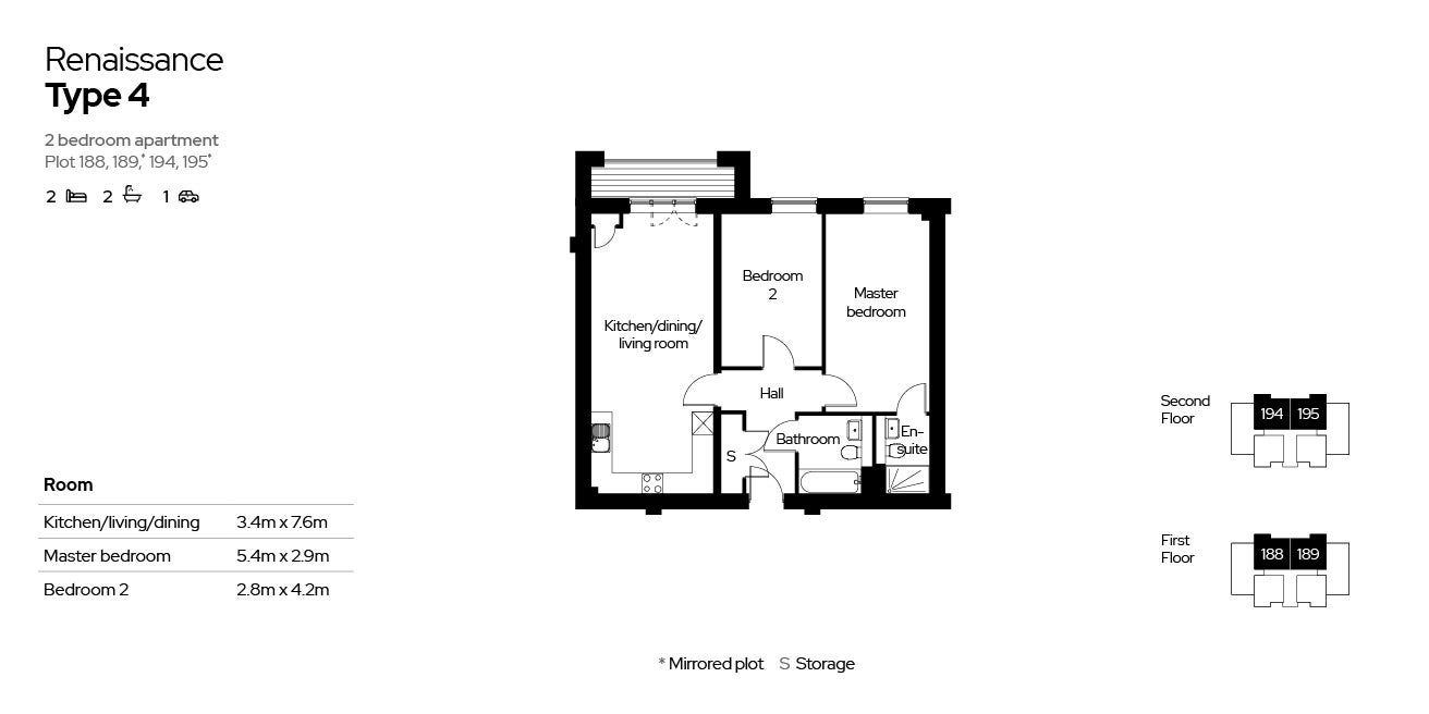 Renaissance, Block 4, 2 beds, plot 188, 189, 194 & 195