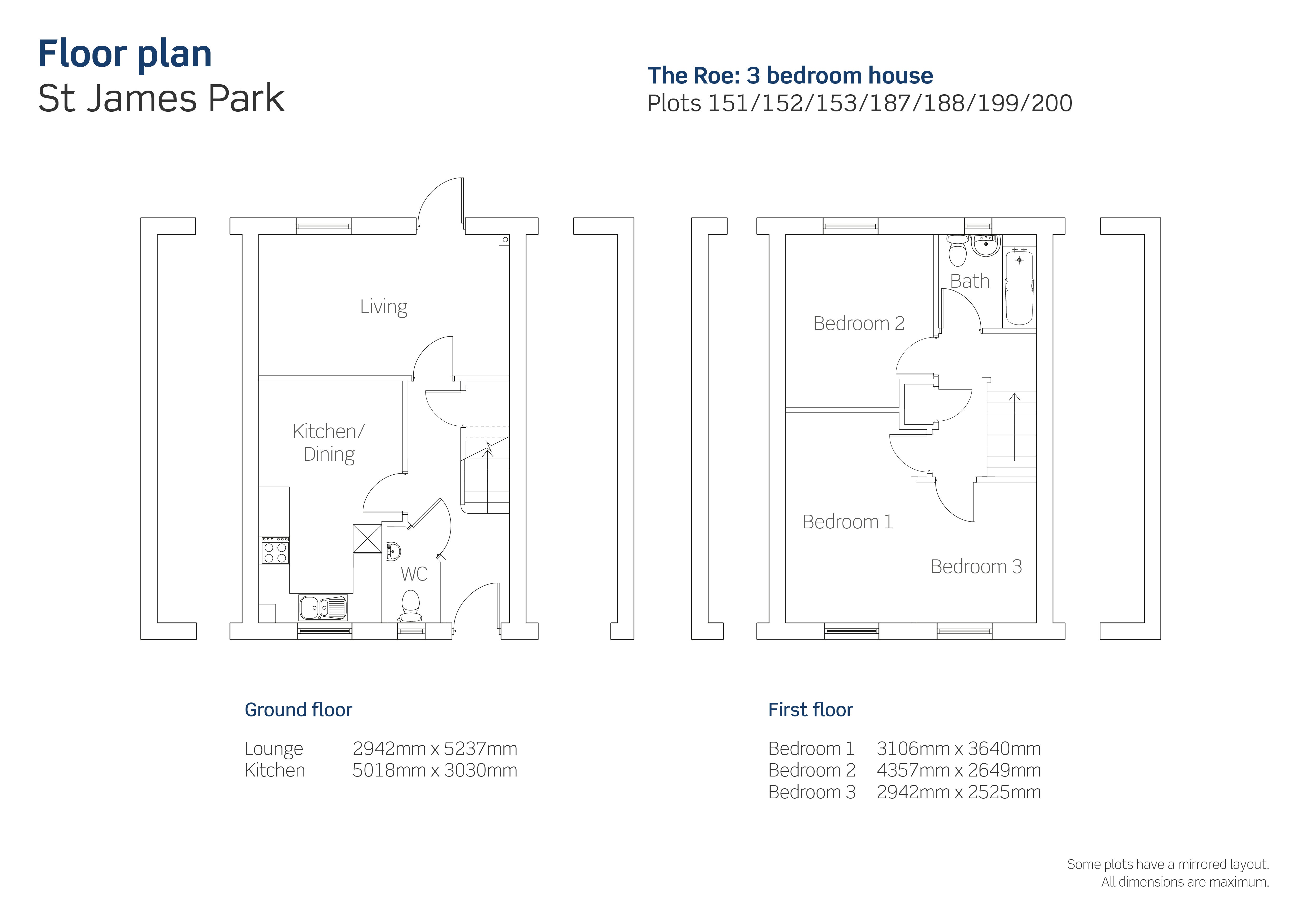 St James Park floor plan for the Roe house type