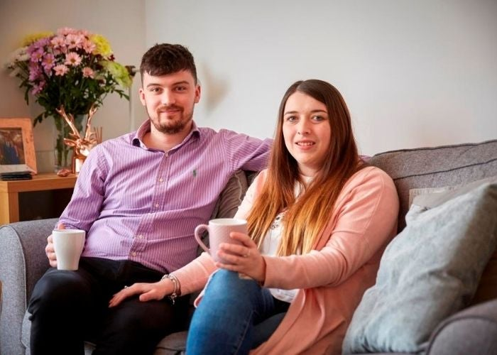 Jasmine and James in their new shared ownership home