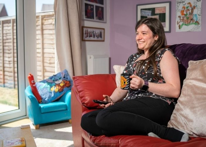 Tamsin enjoying her new shared ownership home
