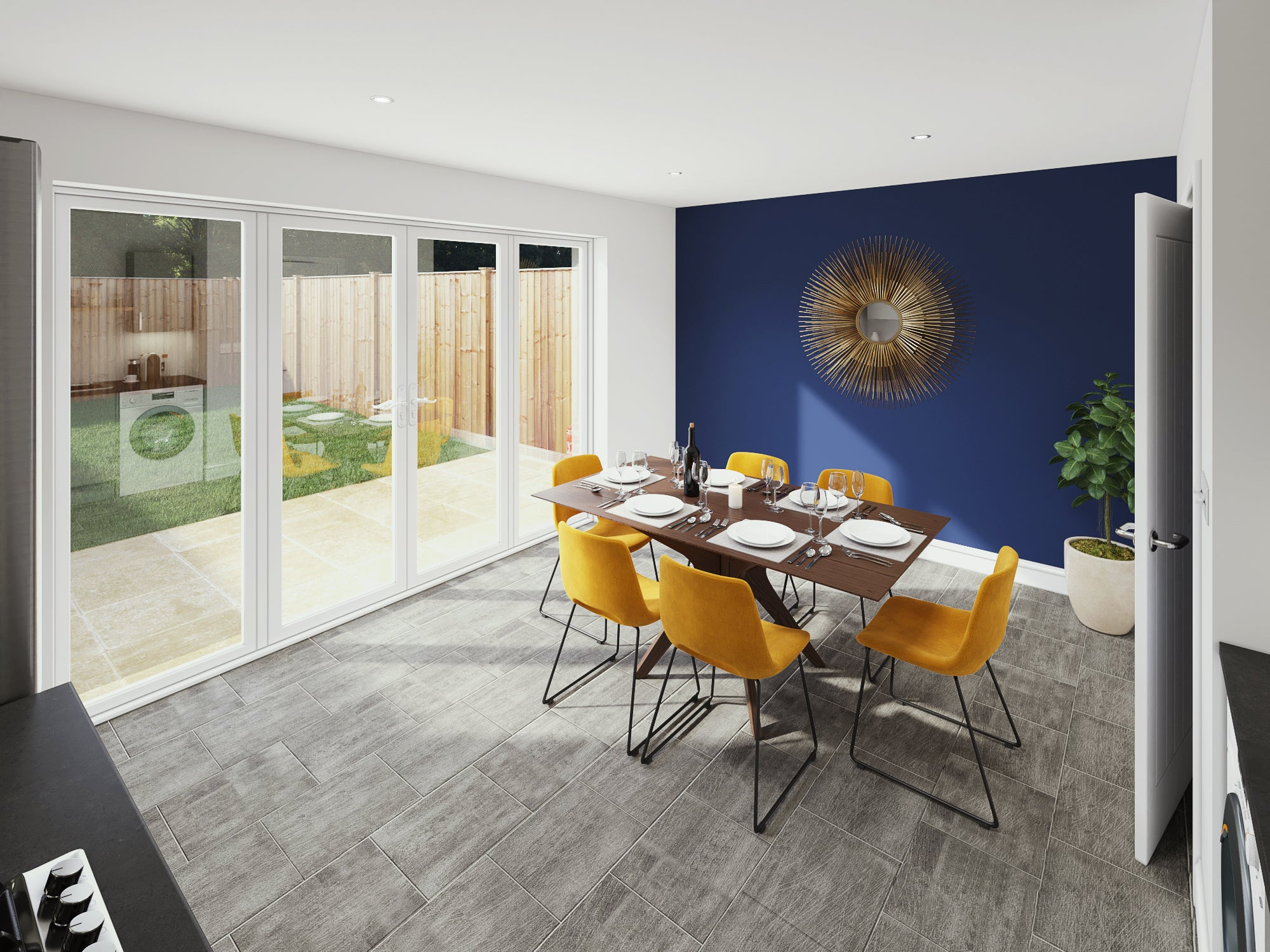 Calder Close interior CGI Dining Area
