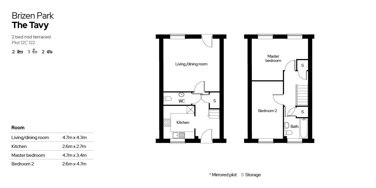 Brizen Park floorplan - plot 121 & 122