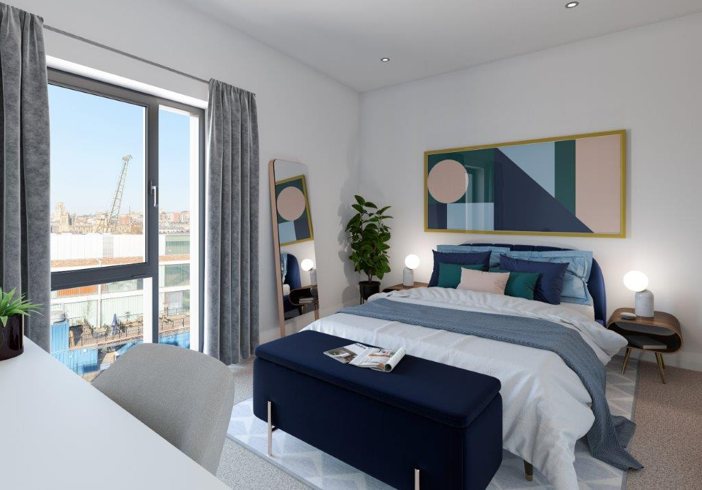 Internal CGI of Wapping Wharf shared ownership homes bedroom