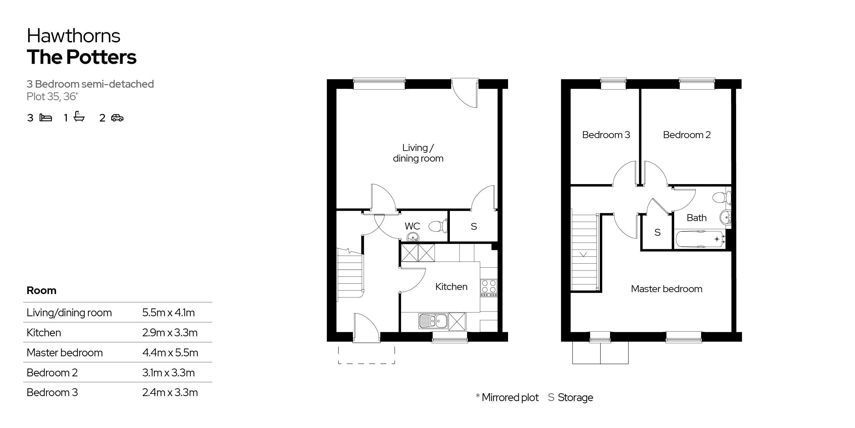Hawthorns 3 bedroom home floor plan