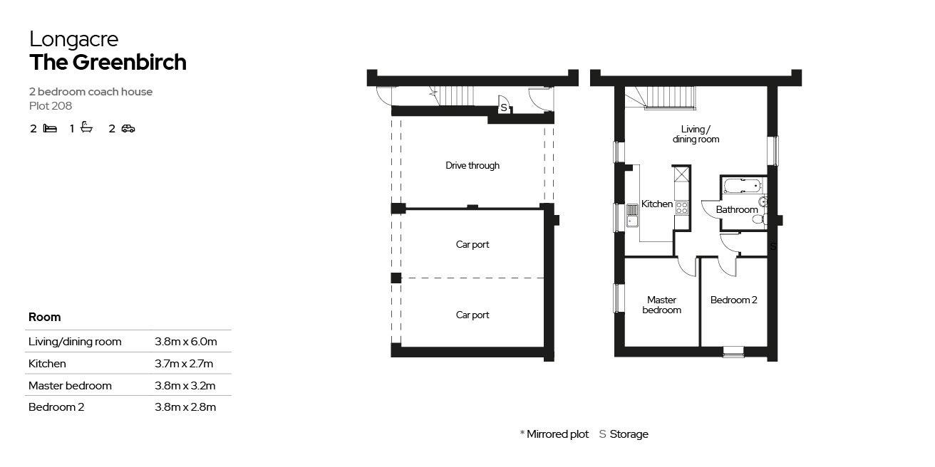 2 bedroom home - the Greenbirch - floorplan