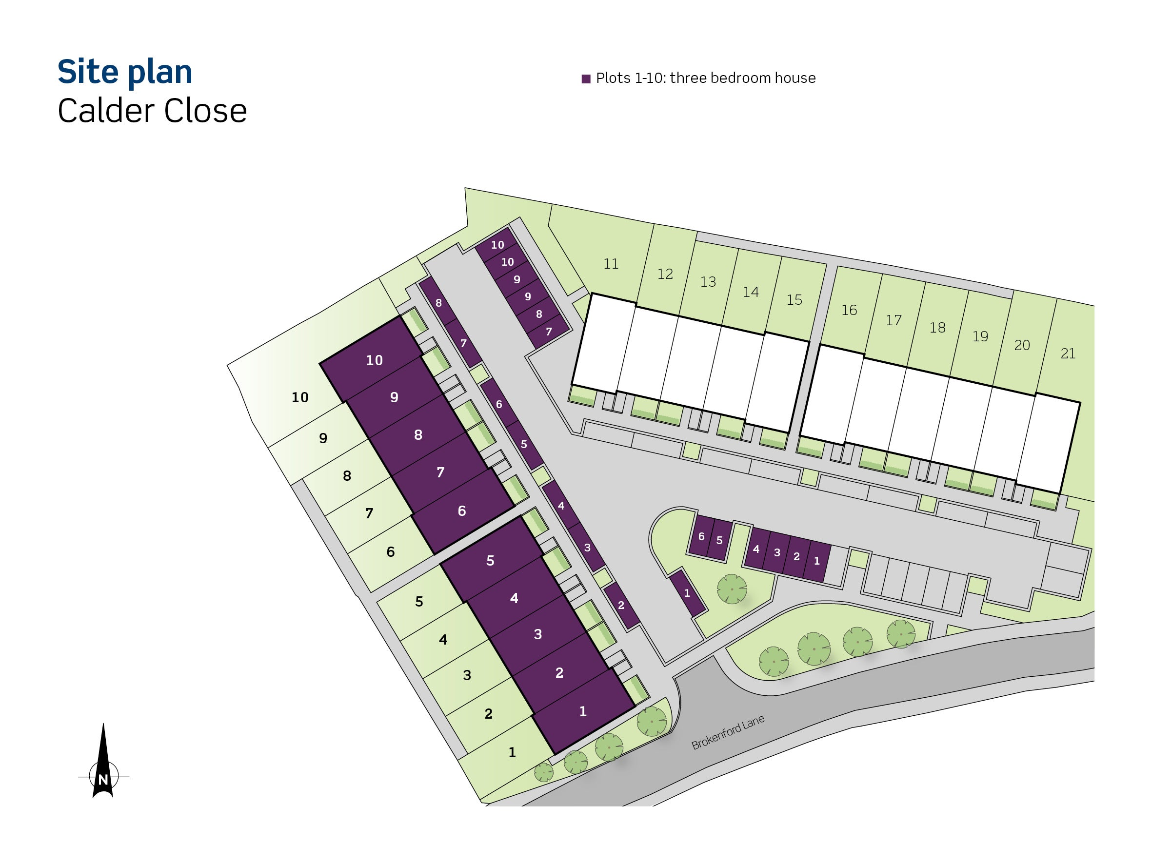 Drawing of Calder Close site plan