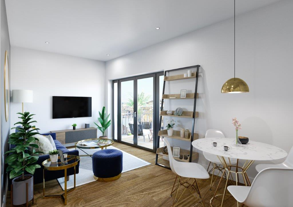 Internal CGI of Wapping Wharf shared ownership homes living room
