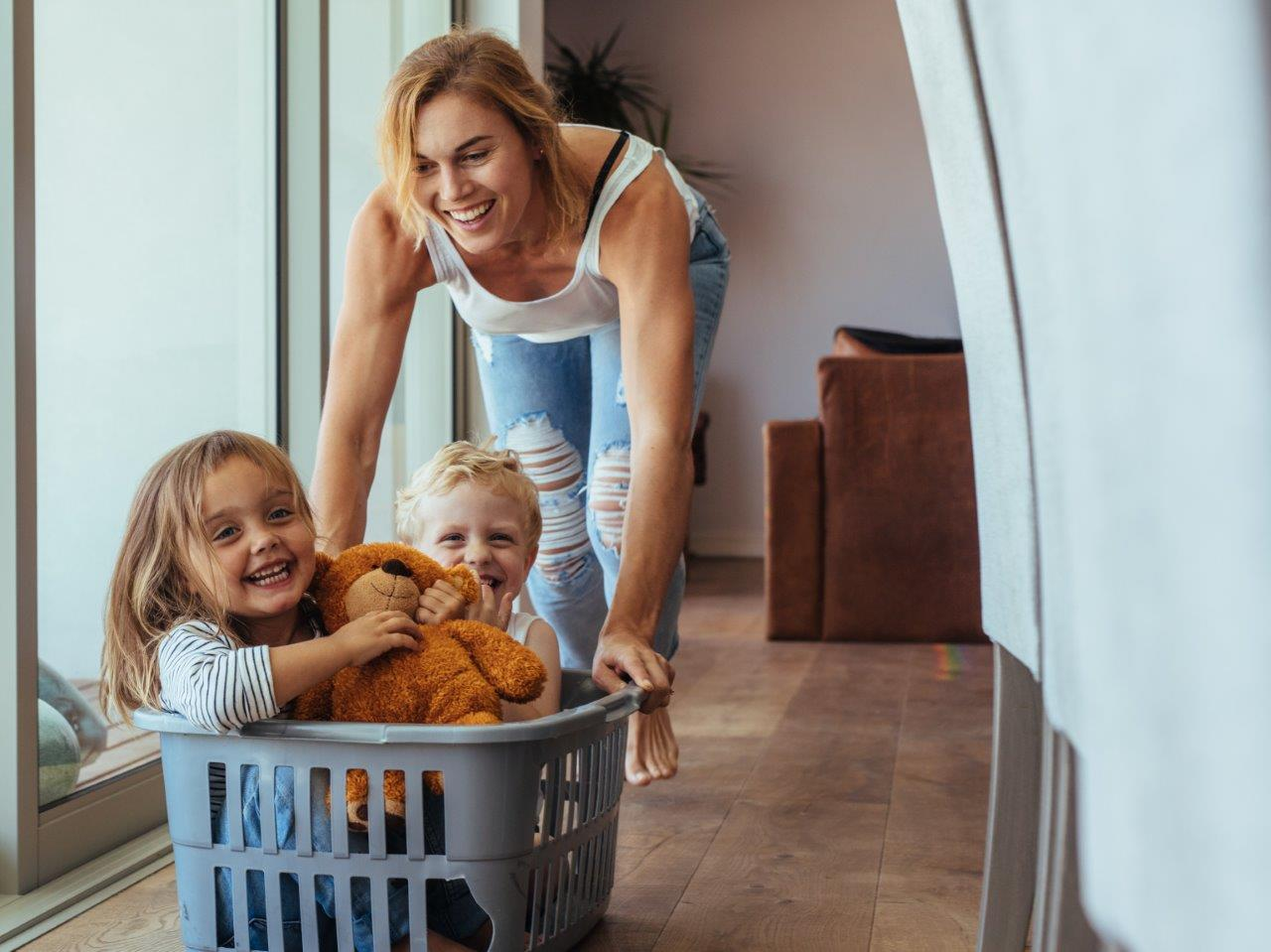 Interior lifestyle stock image of family