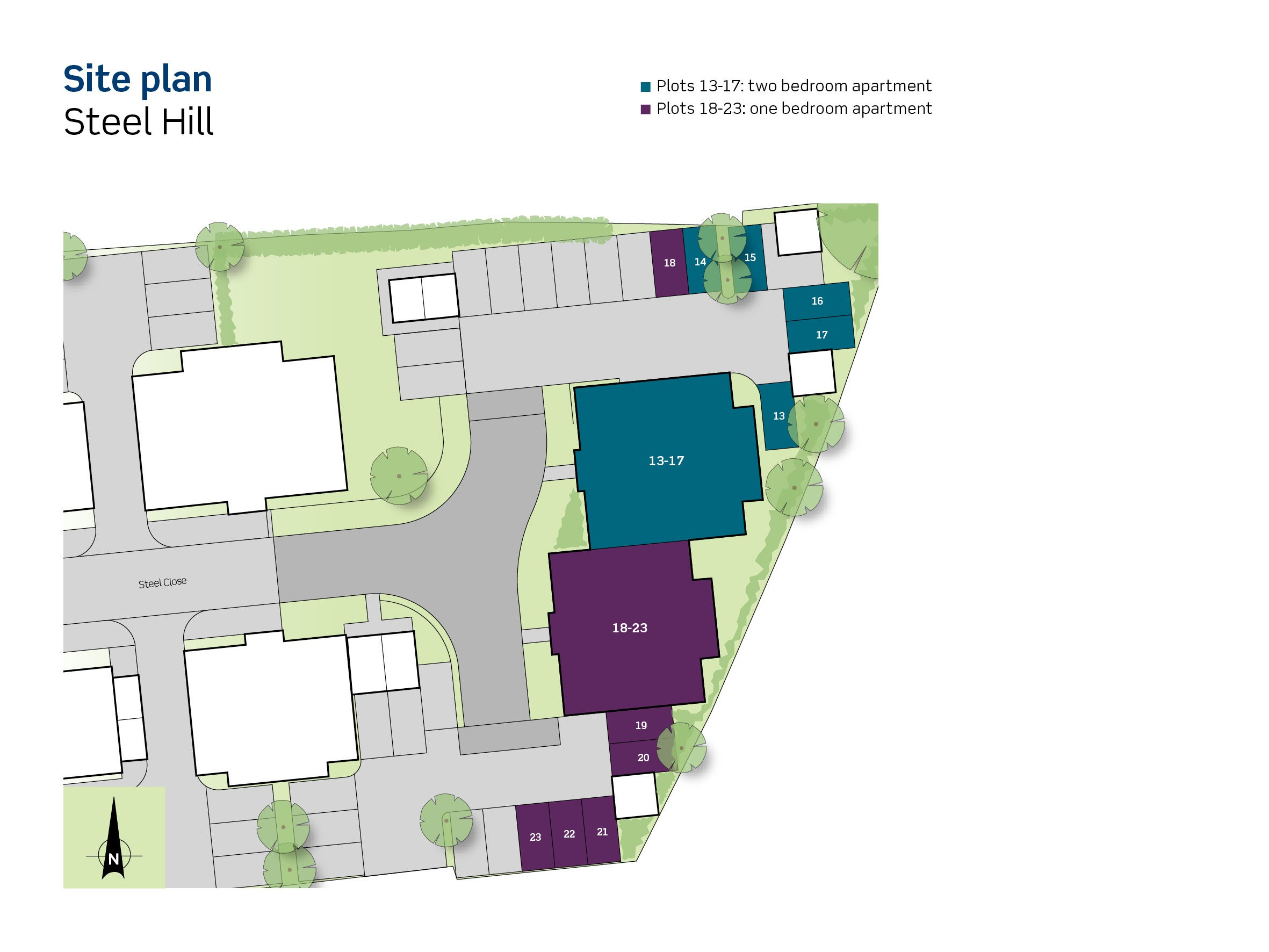 Site plan for Steel Hill apartments