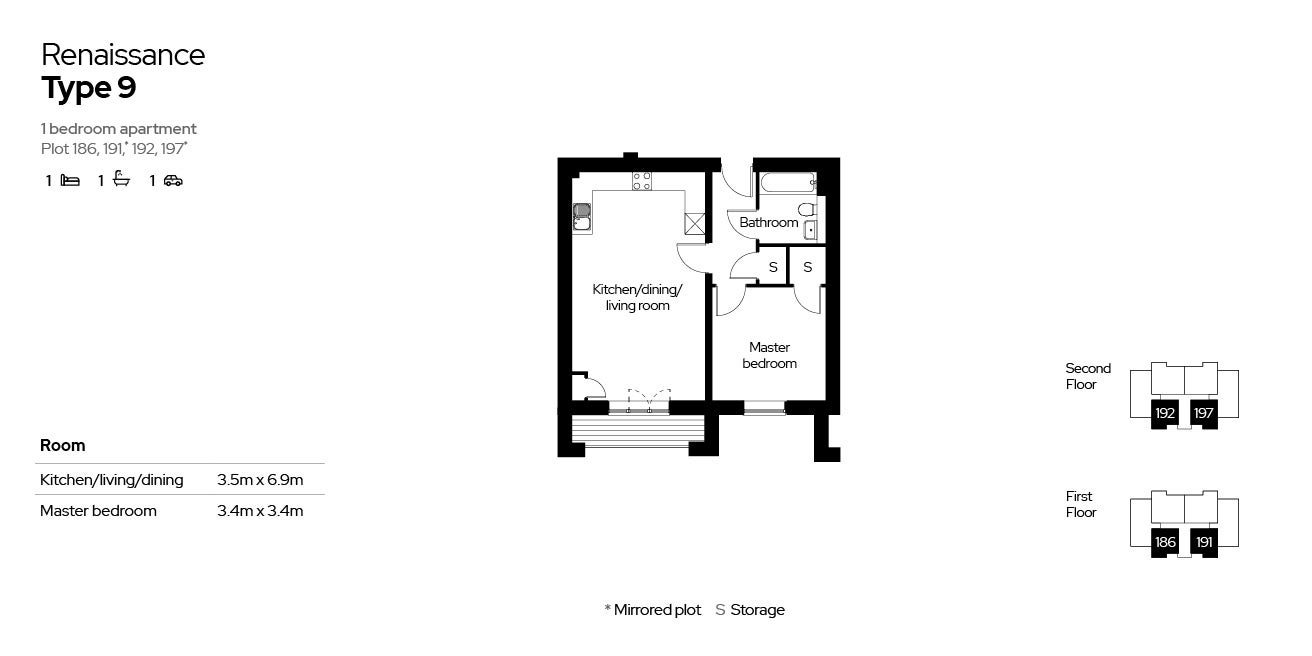 Renaissance, Block 4, 1 bed floor plans (plots 186, 191, 192 & 197)