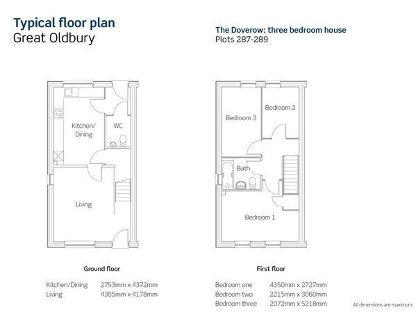 Great Oldbury Floor Plan Plots 287-289