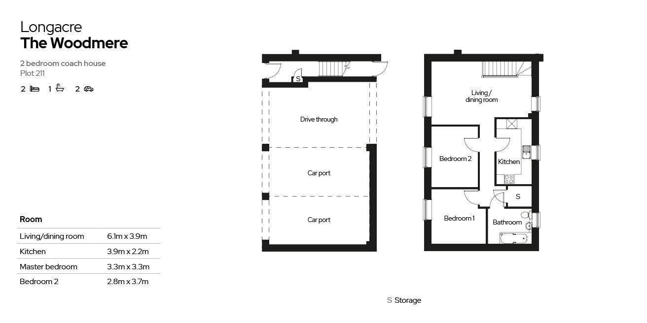 2 bedroom home - the Woodmere - floorplan
