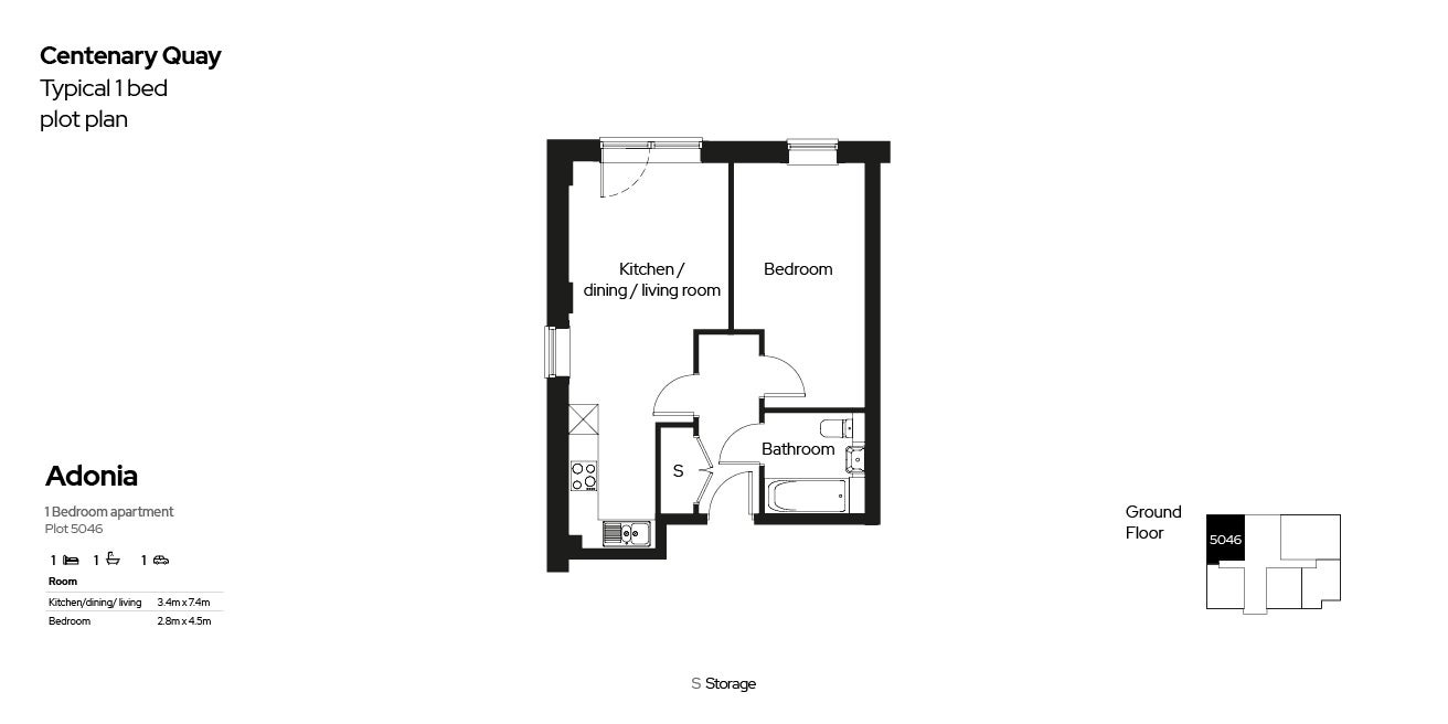 Centenary Quay typical 1 bed floor plan