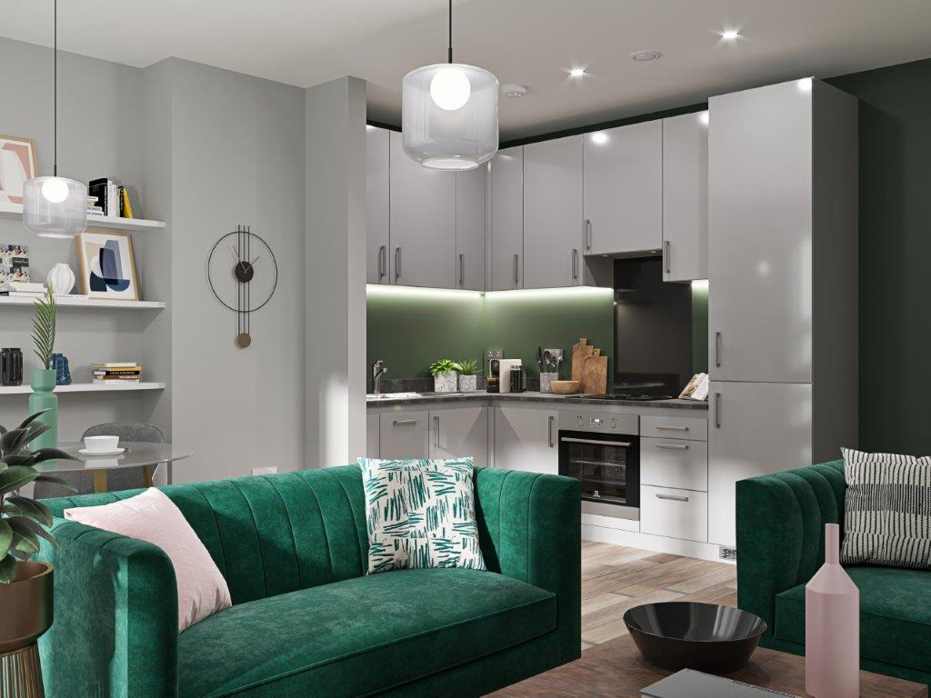 Wapping Wharf kitchen interior CGI