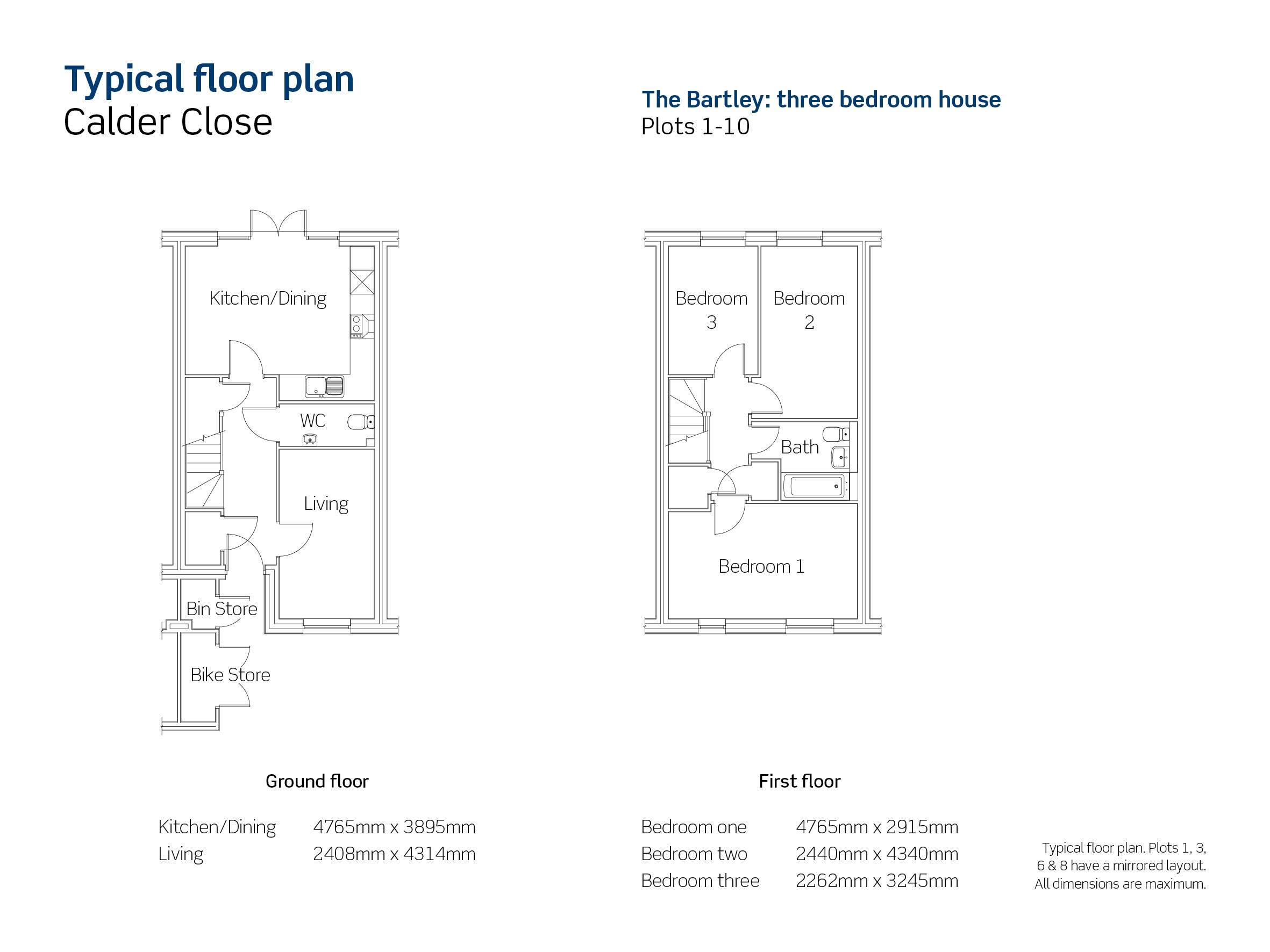 Drawing of Calder Close The Bartley floor plan
