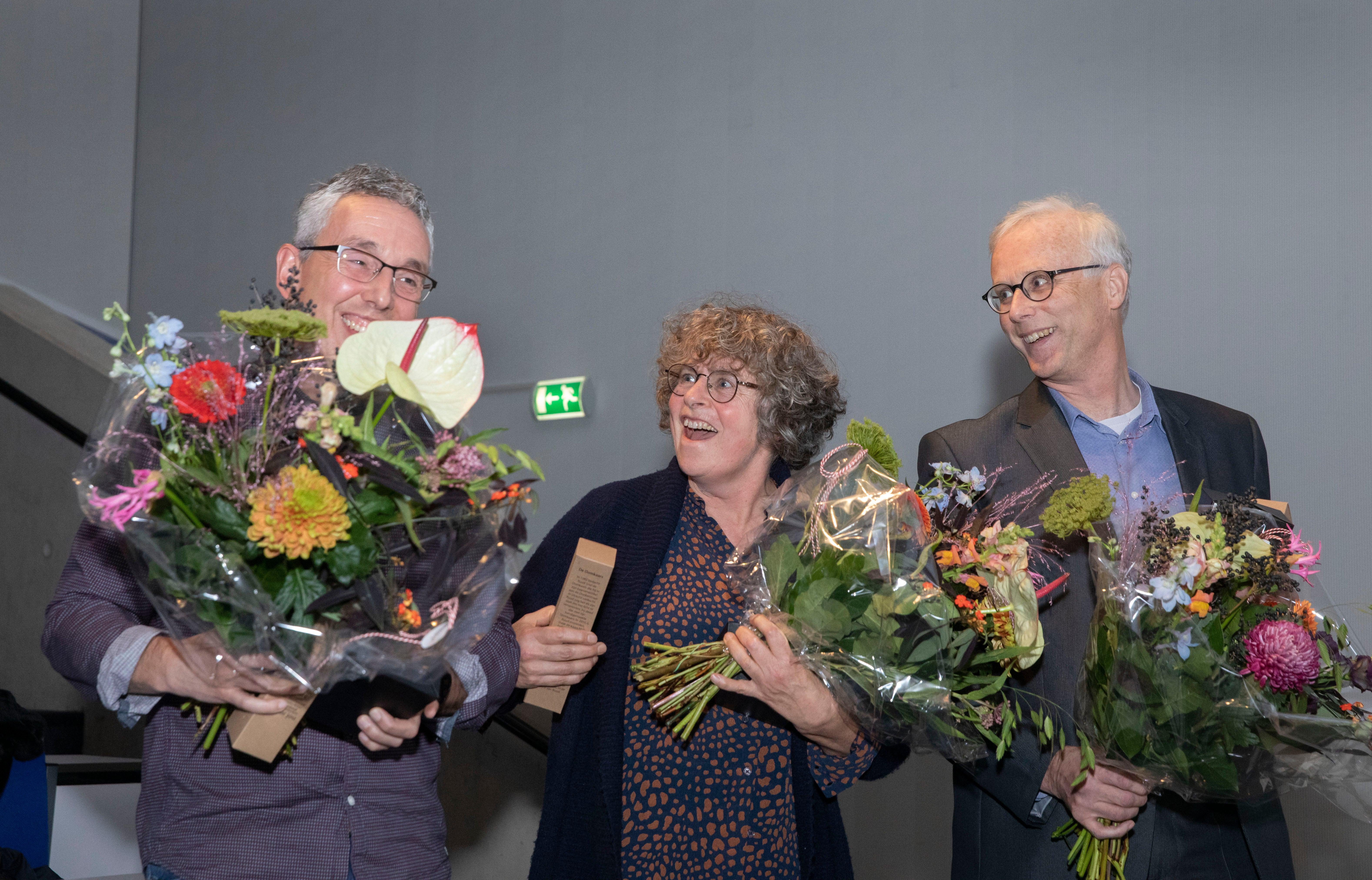 Prijswinnaars tijdens het Hijmans van den Bergh Symposium - Geert Ramakers, Isabel Thunnissen en Joost Koedam