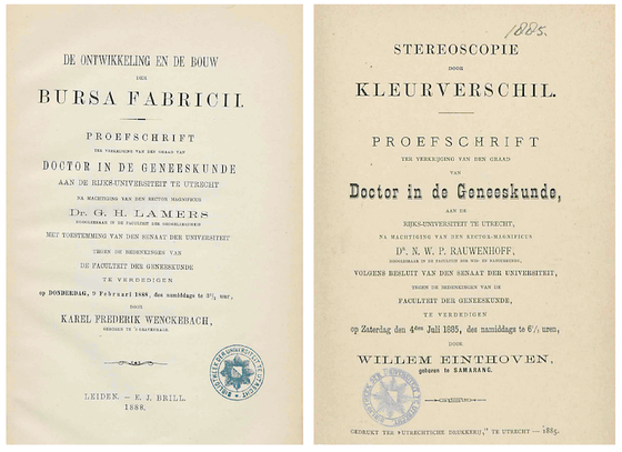 Title pages of the PhD theses of Lamers and Einthoven.