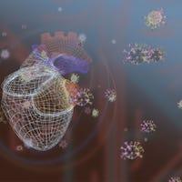 Hart met viruscellen