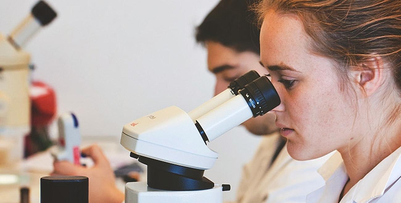 Student kijkt door microscoop