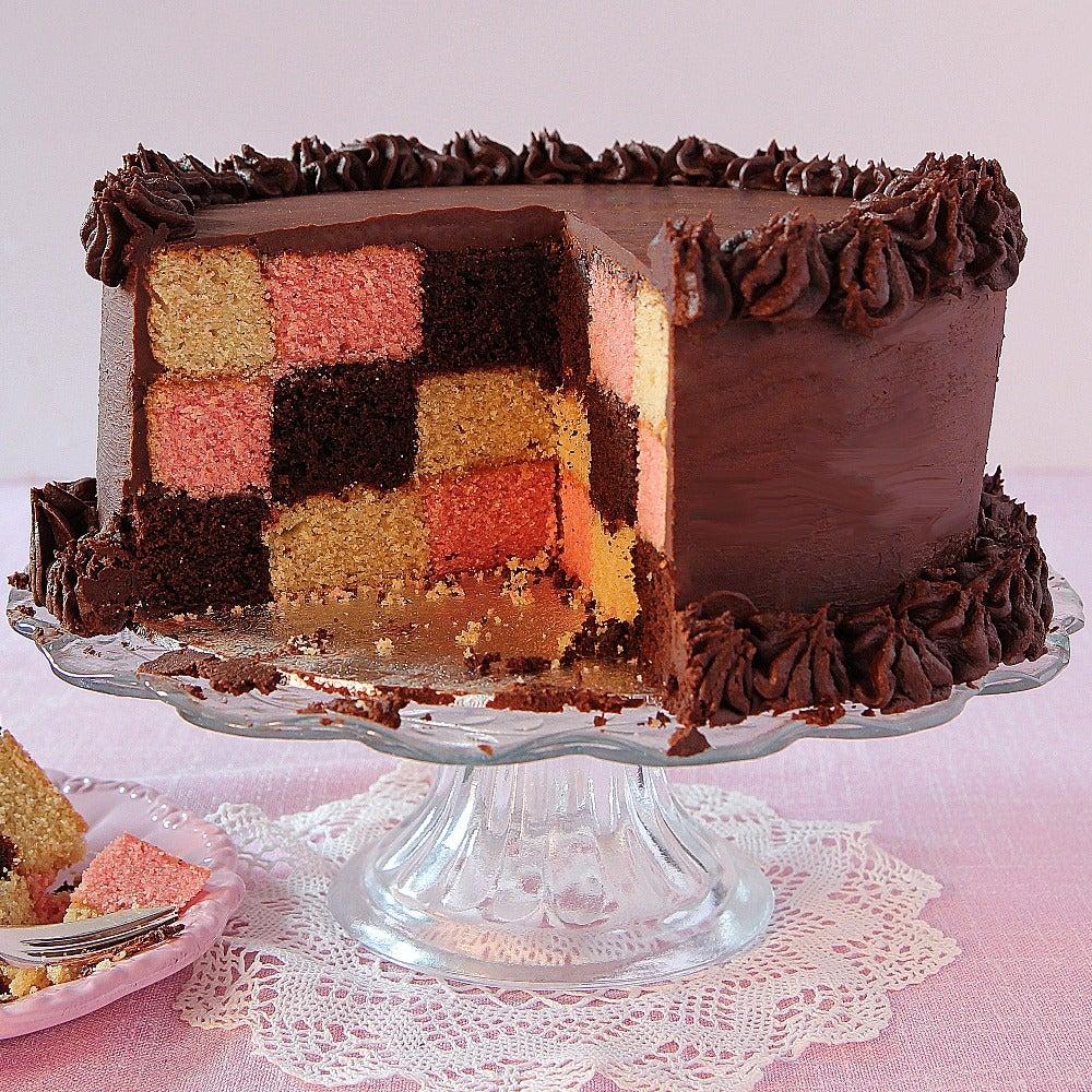 Chocolate chequered cake
