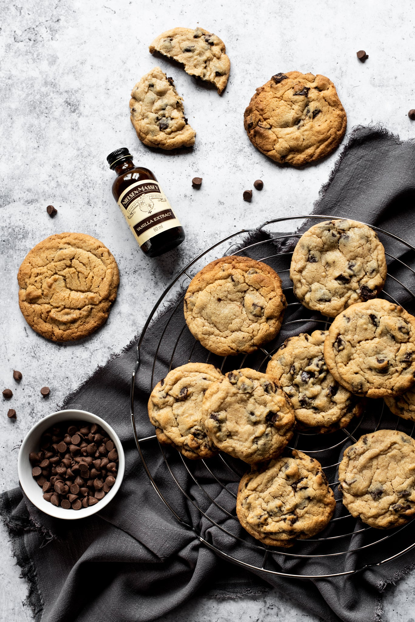 A top down view of a plate of millies copycat chocolate chip cookies