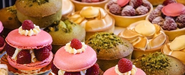 patisserie cakes in a row