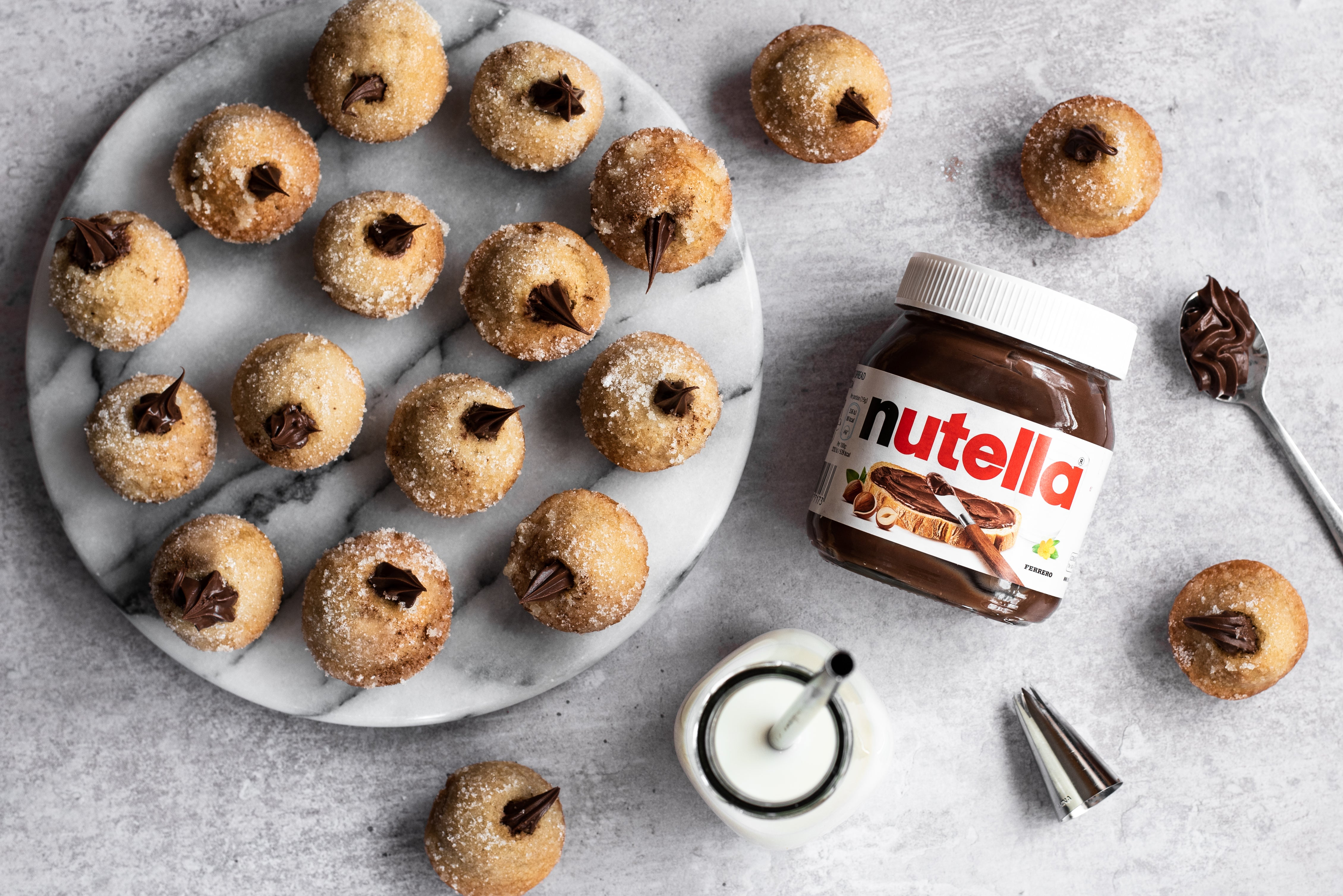 Nutella Filled Cinnamon Sugar Doughnut Holes