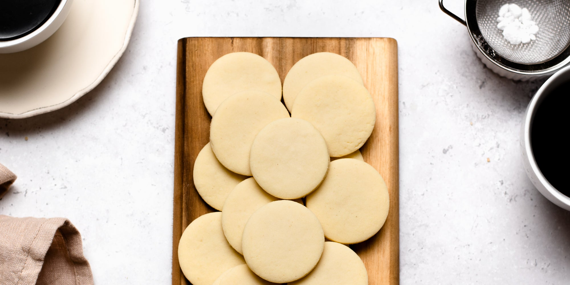 Top down view of vegan shortbread on a chopping board