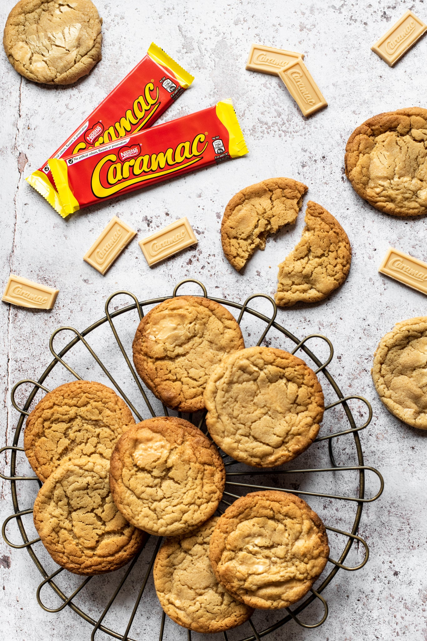 A top down view of a plate of caramac copycat millie's cookies