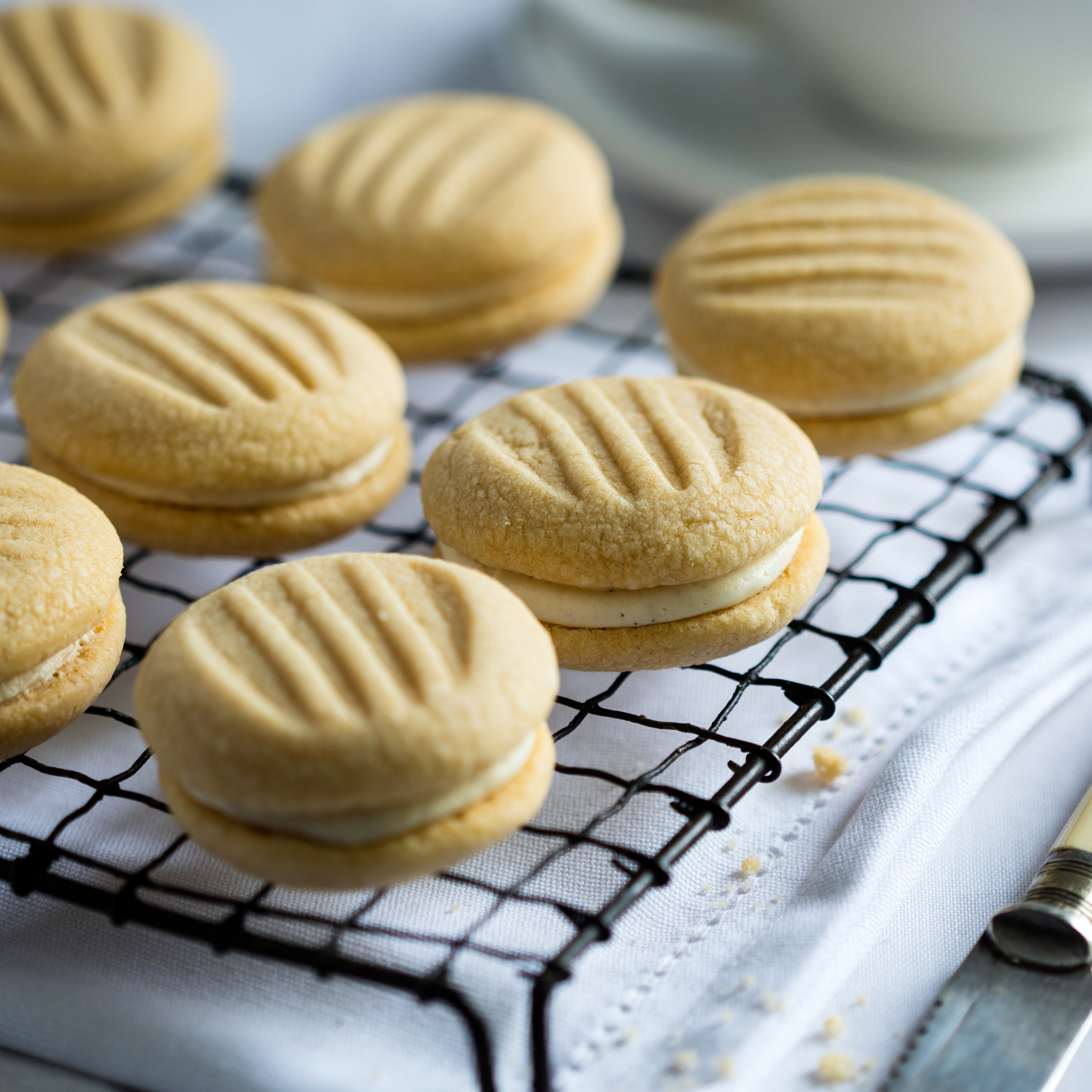 Close up on biscuits lined up on cooling rack
