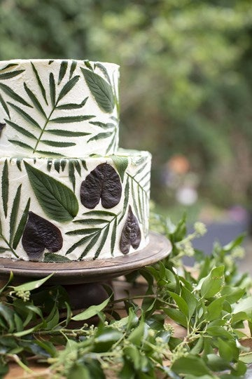 Cake decorated with leaves