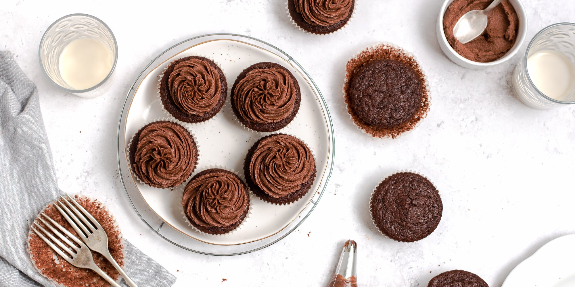 Top view of Vegan Chocolate Cupcakes piped with vegan chocolate buttercream.