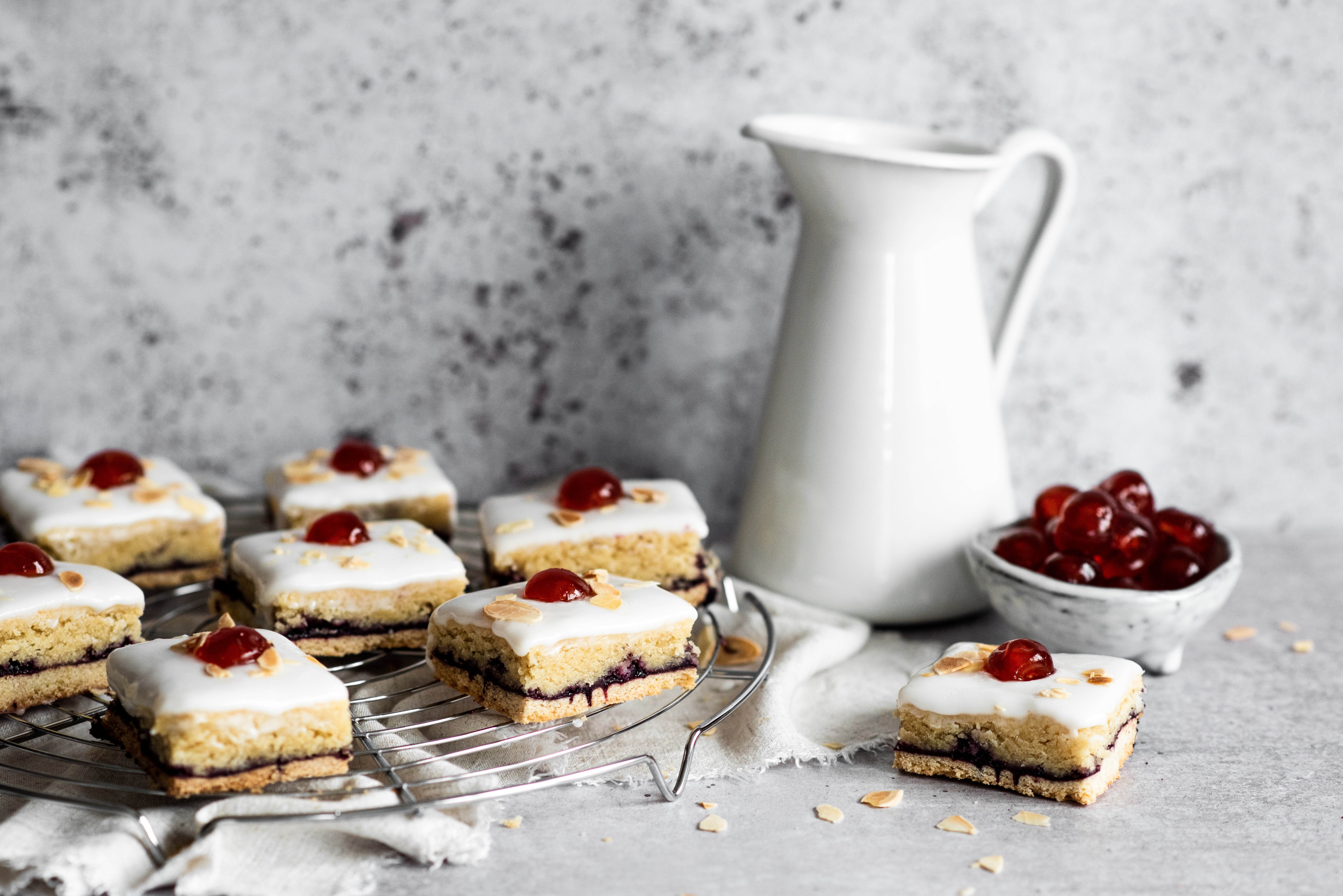 Bakewell Tart slices on a cooling rack