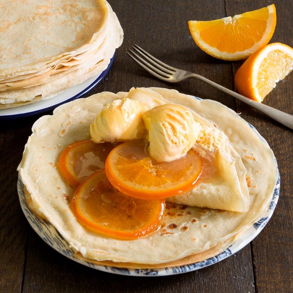 Orange Pancakes & Ice Cream
