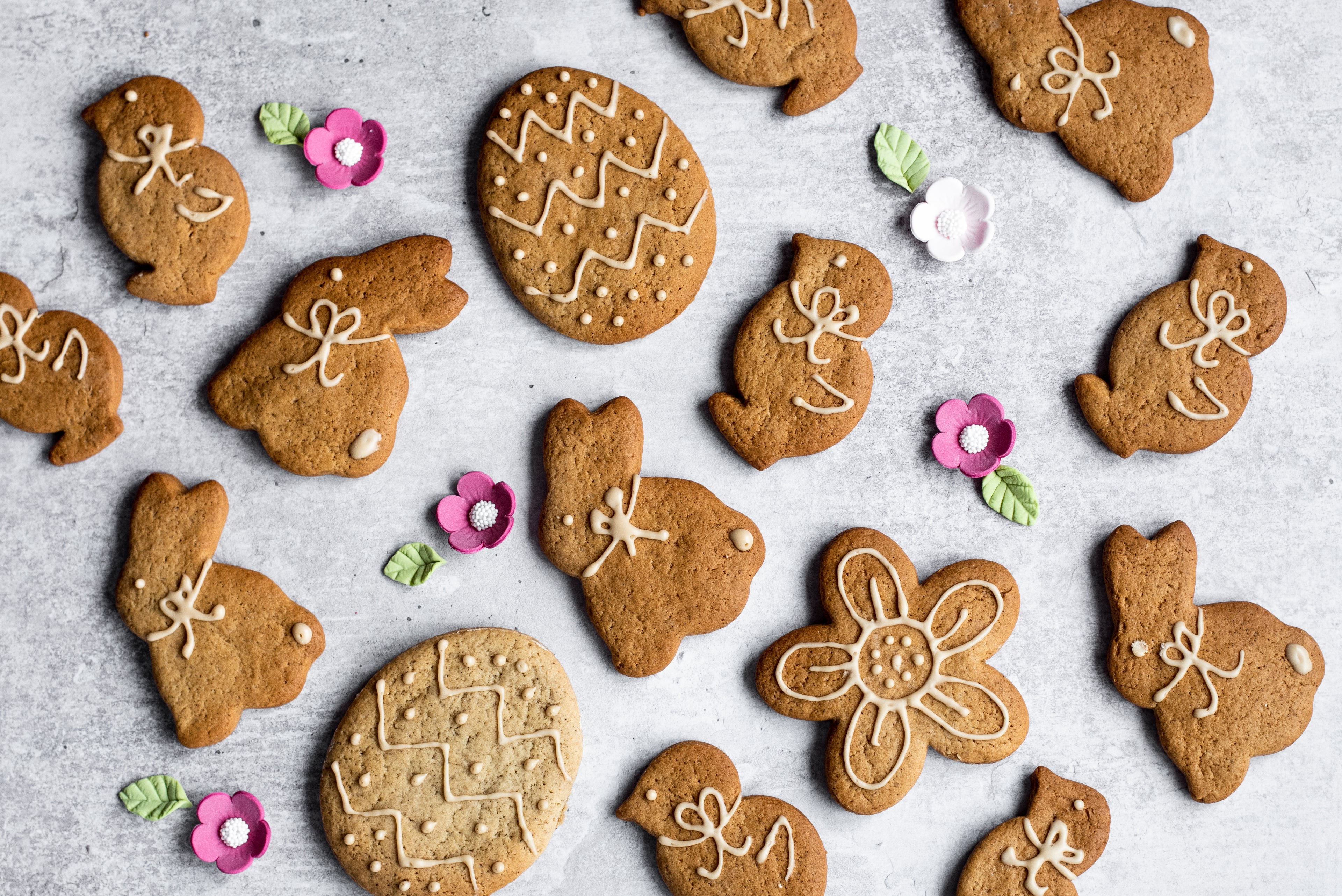 Easter shaped ginger biscuits laid flat on a surface