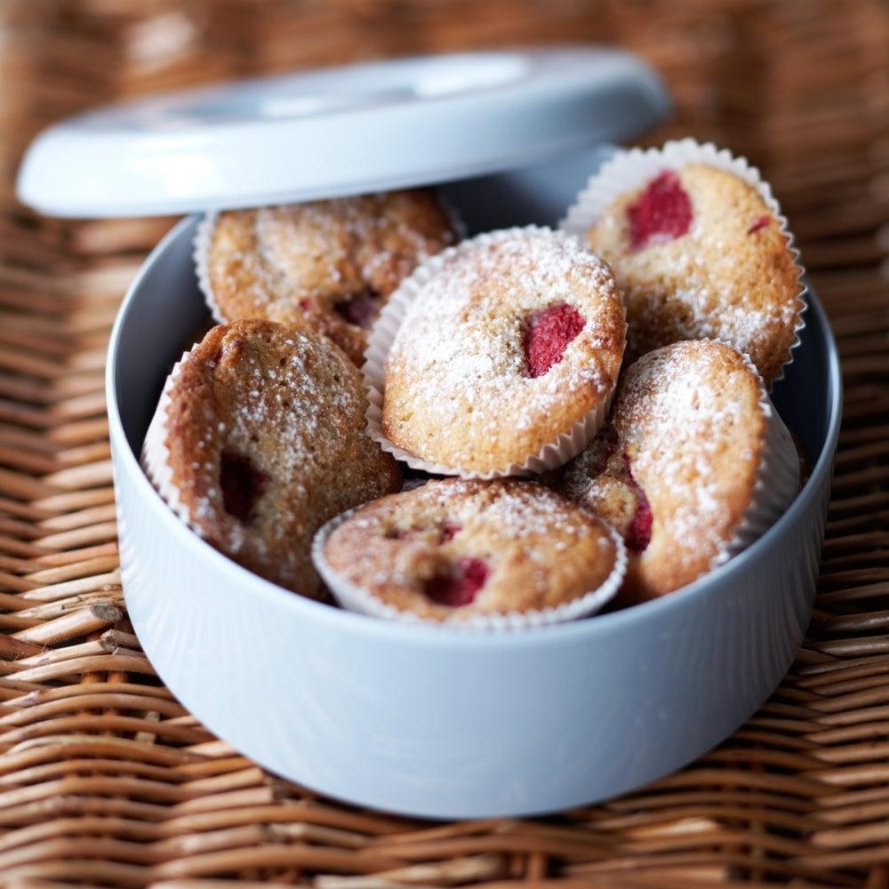Raspberry and coconut fairy cakes