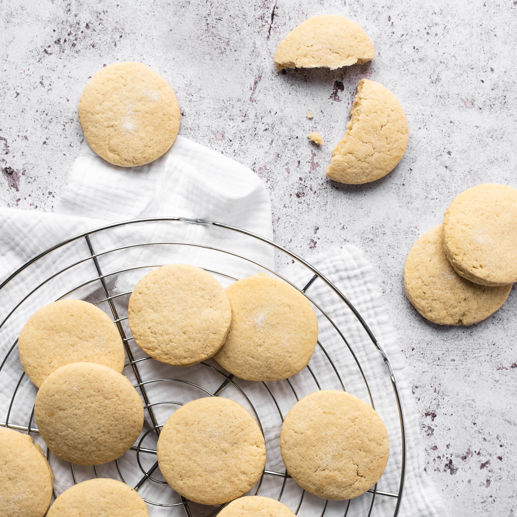 Shortbread biscuits on a cooling rack