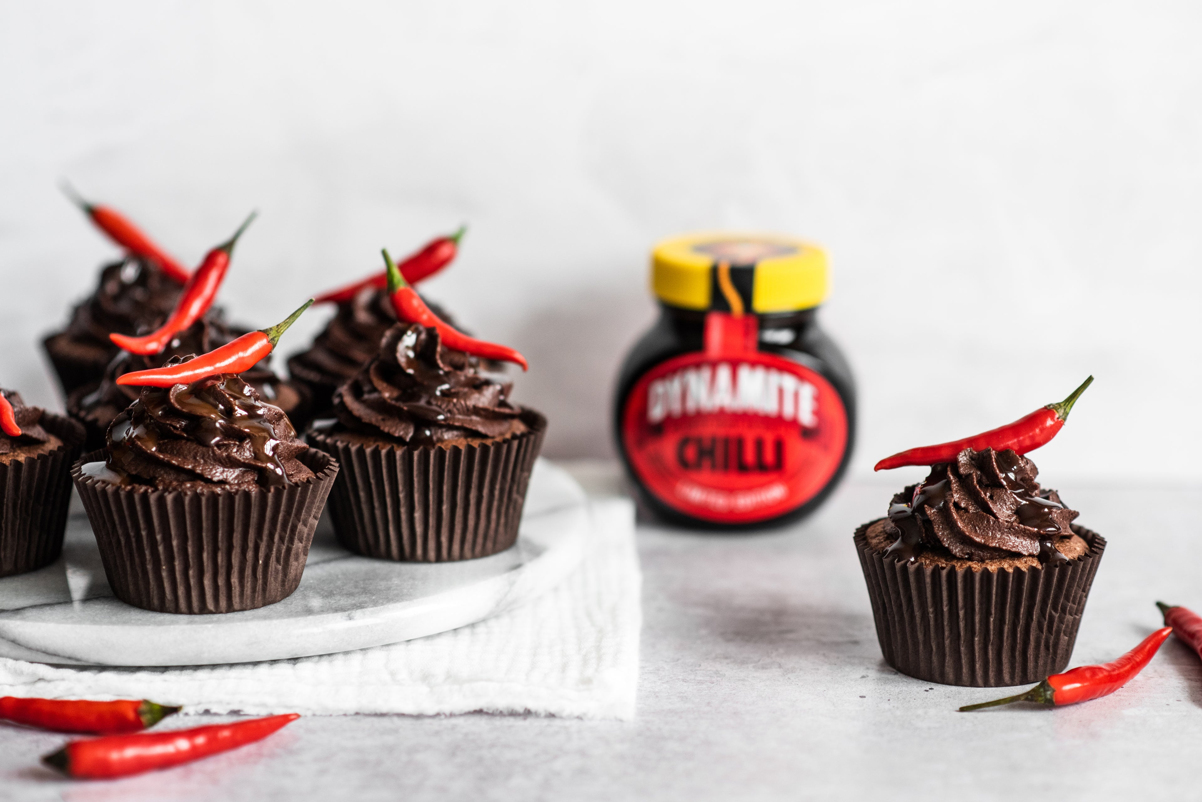 Chilli Chocolate Cupcakes with a chilli on top