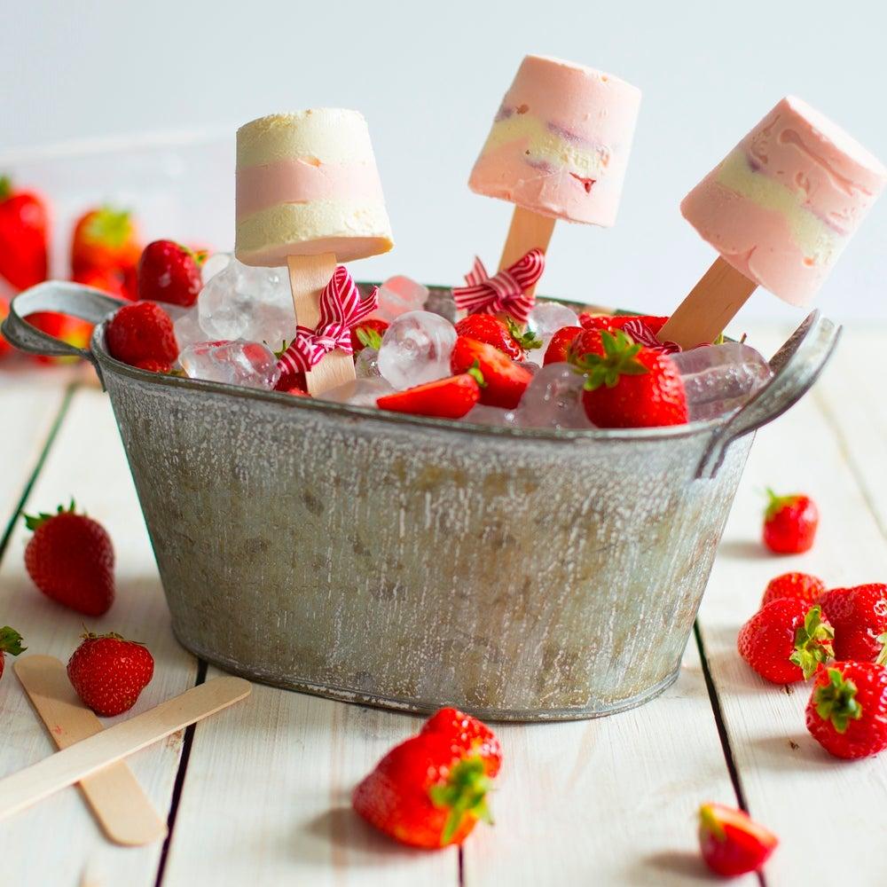 Strawberries & Cream Lollies