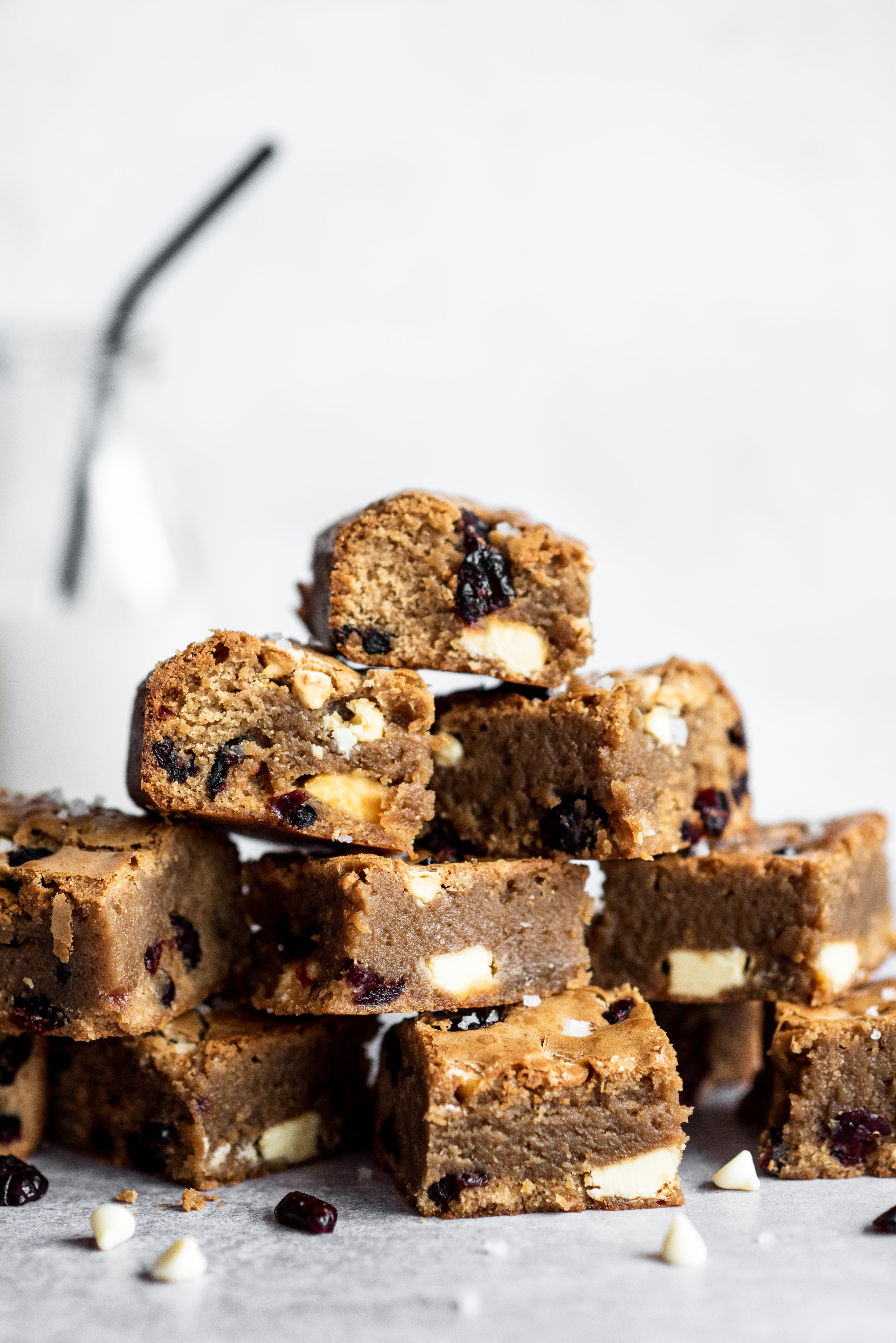 Blondies cut into squares stacked up