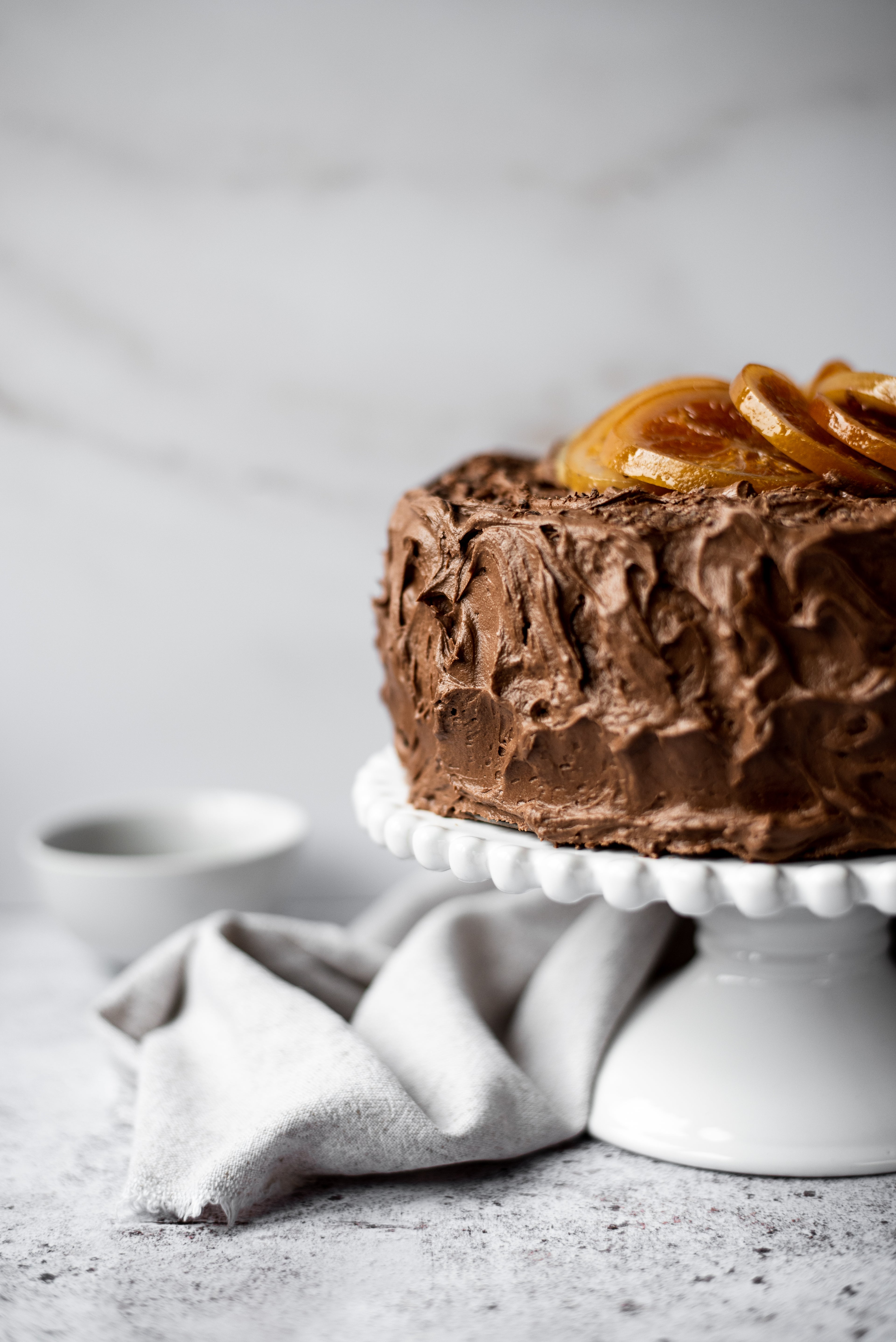 chocolate cake with orange slices on top